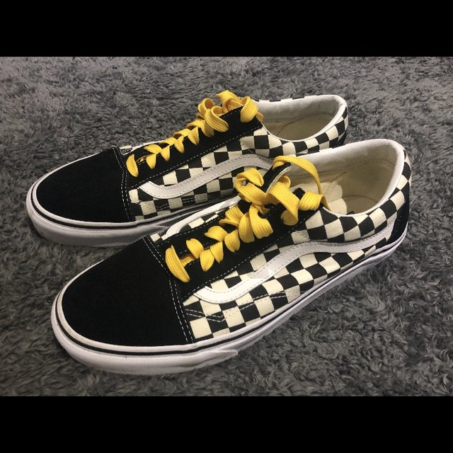 Vans old skool checkered Yellow laces