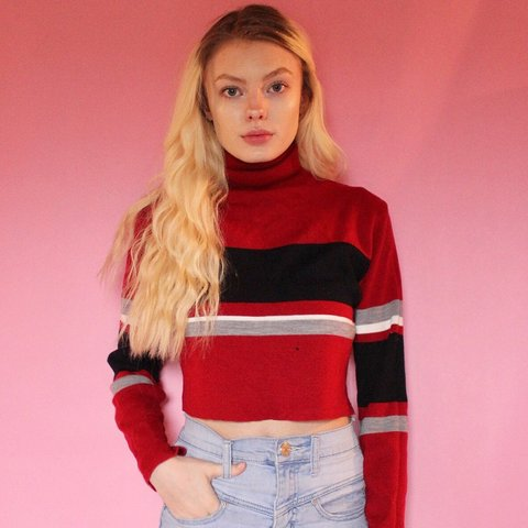 c293f9a8e2665 Red Striped Turtleneck Sweater Crop Top. This shirt looks a - Depop