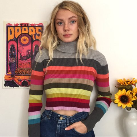 5ba91750bbc58 Colorful Striped Turtleneck Crop Top. This sweater is so a - Depop