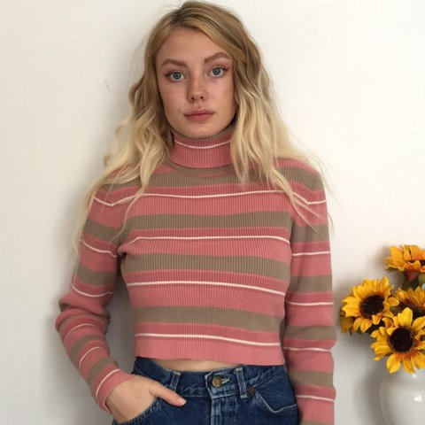 ce3410eaf9d0e Pink and Tan Striped Turtleneck Crop Top. This sweater is so - Depop
