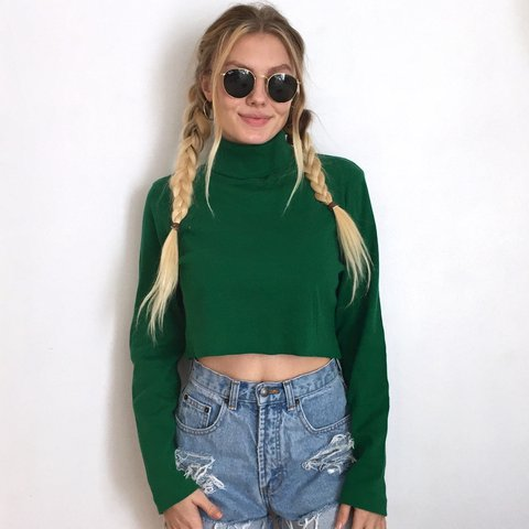a9902e2e20d @maggiekallery. 2 years ago. St. Louis, MO, USA. Green Ribbed Turtleneck  Crop Top. This shirt is so cute ...