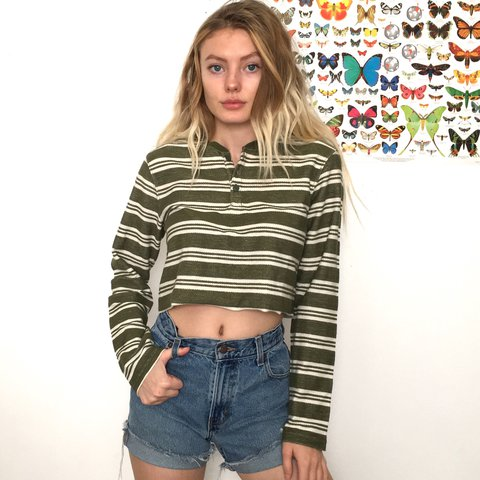 598b382cdd835 Green and White Striped Henley Crop Top. This shirt is so a - Depop
