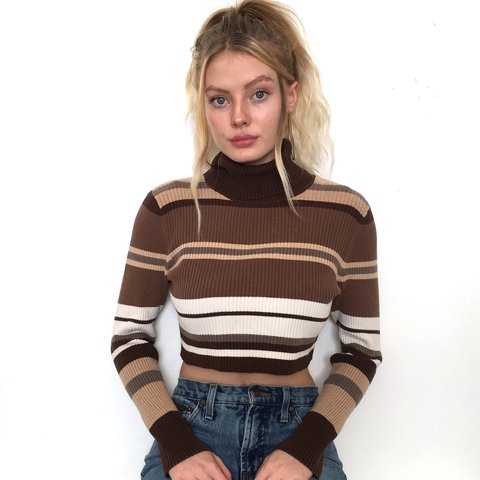 293750f2c029d Brown Striped Turtleneck Crop Top. This sweater is so cute a - Depop