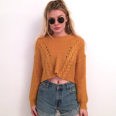 2d8ef25015bf29 Mustard Yellow Knit Sweater Crop Top. This sweater is so on. - Depop