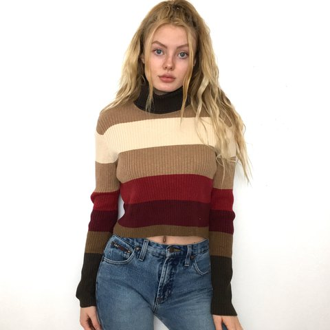 984c597e3df67 Striped Turtleneck Crop Top. This cropped sweater is so cute - Depop