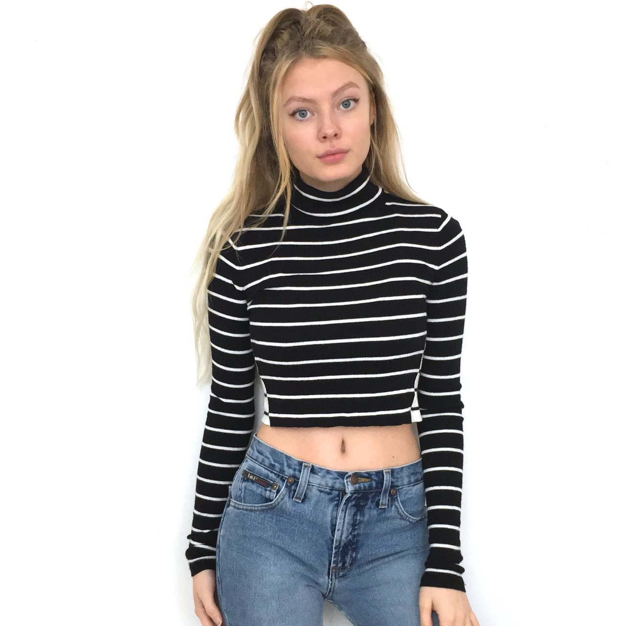 48b7b706bb0a3 Black and White Striped Turtleneck Crop Top. This sweater is - Depop