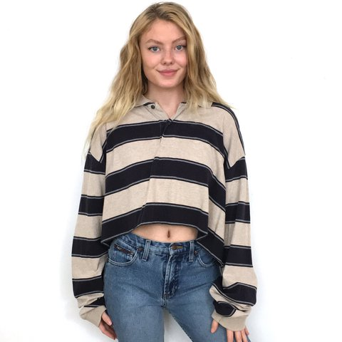 66fb403dad44b Tan and Navy Blue Striped Long Sleeve Crop Top. This shirt a - Depop