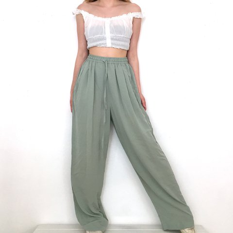 a4f1438f9ab Vintage High Waisted Light Green Wide Leg Pants. These are a - Depop