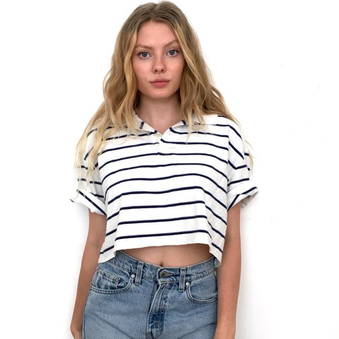 583817b07ff53 White and Navy Blue Striped Crop Top. It has an oversized a - Depop