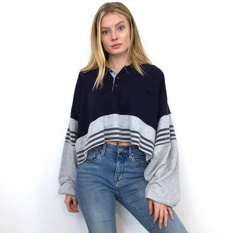 4b76ef5fe5ea5 Navy Blue and Gray Long Sleeve Crop Top. It has an oversized - Depop