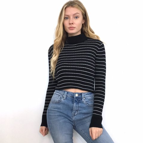 bb549699831e0 Black and White Striped Turtleneck Sweater Crop Top. It s a - Depop
