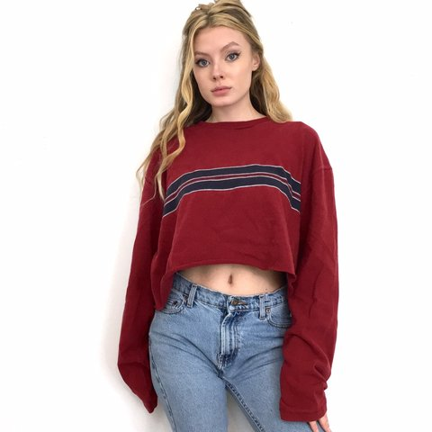 69964f1a07d16 Red and Navy Blue Striped Long Sleeve Crop Top. It has an a - Depop