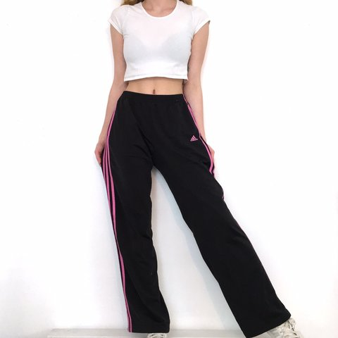 11b1ff4a Black and Pink Adidas Track Pants. The waistband is Tagged a - Depop