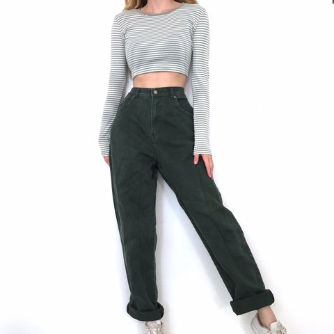 d0dab42aa666 @maggiekallery. 29 days ago. St. Louis, United States. Vintage High Waisted  Dark Green Jeans. They're in great condition.
