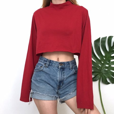 58fe6a215 @maggiekallery. last month. St. Louis, United States. Red Mock Turtleneck  Crop Top.