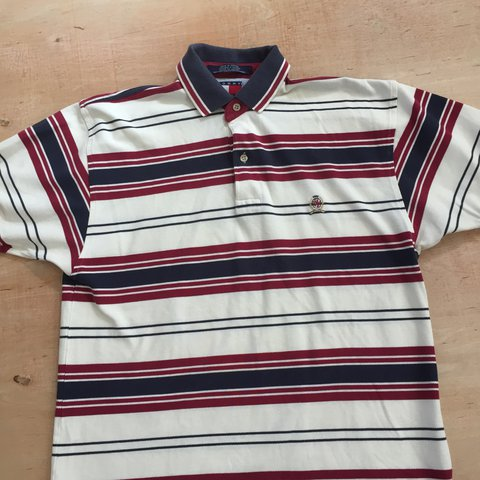 52503108b2 @wrfr. 11 months ago. California, USA. Vintage 90's Tommy Hilfiger Striped  Crest Polo Shirt Sz. Small Multi Color