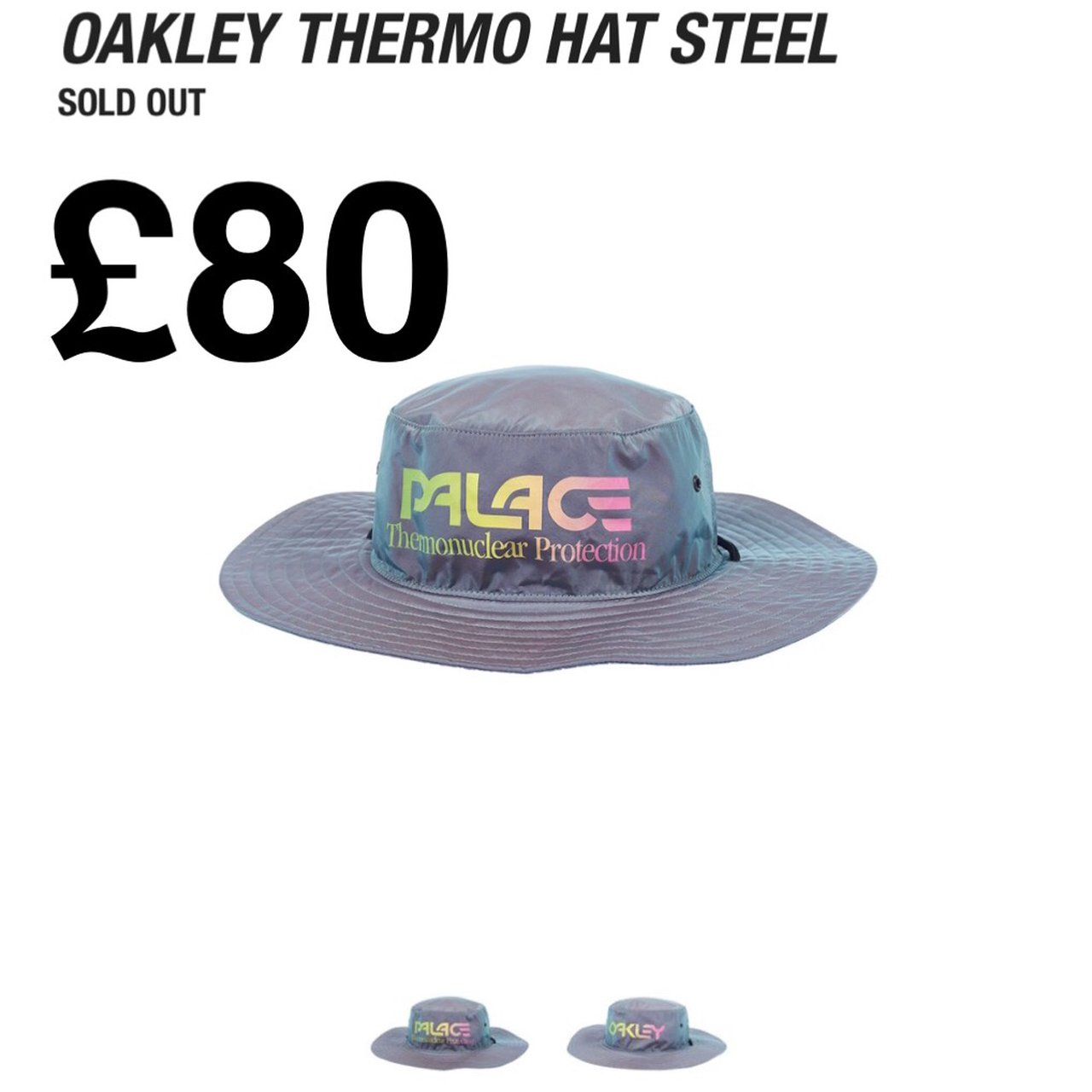 71ca7791 PALACE X OAKLEY THERMO HAT STEEL GREY - Depop