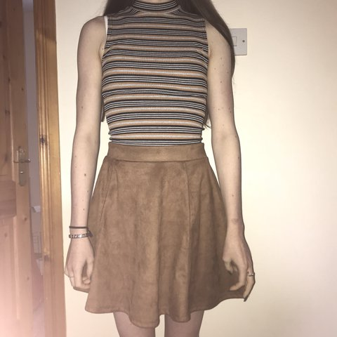 a8d7e1f41d @squishmeg. last year. Bangor, United Kingdom. H&M brown suede skater skirt.  Size S so would fit around ...