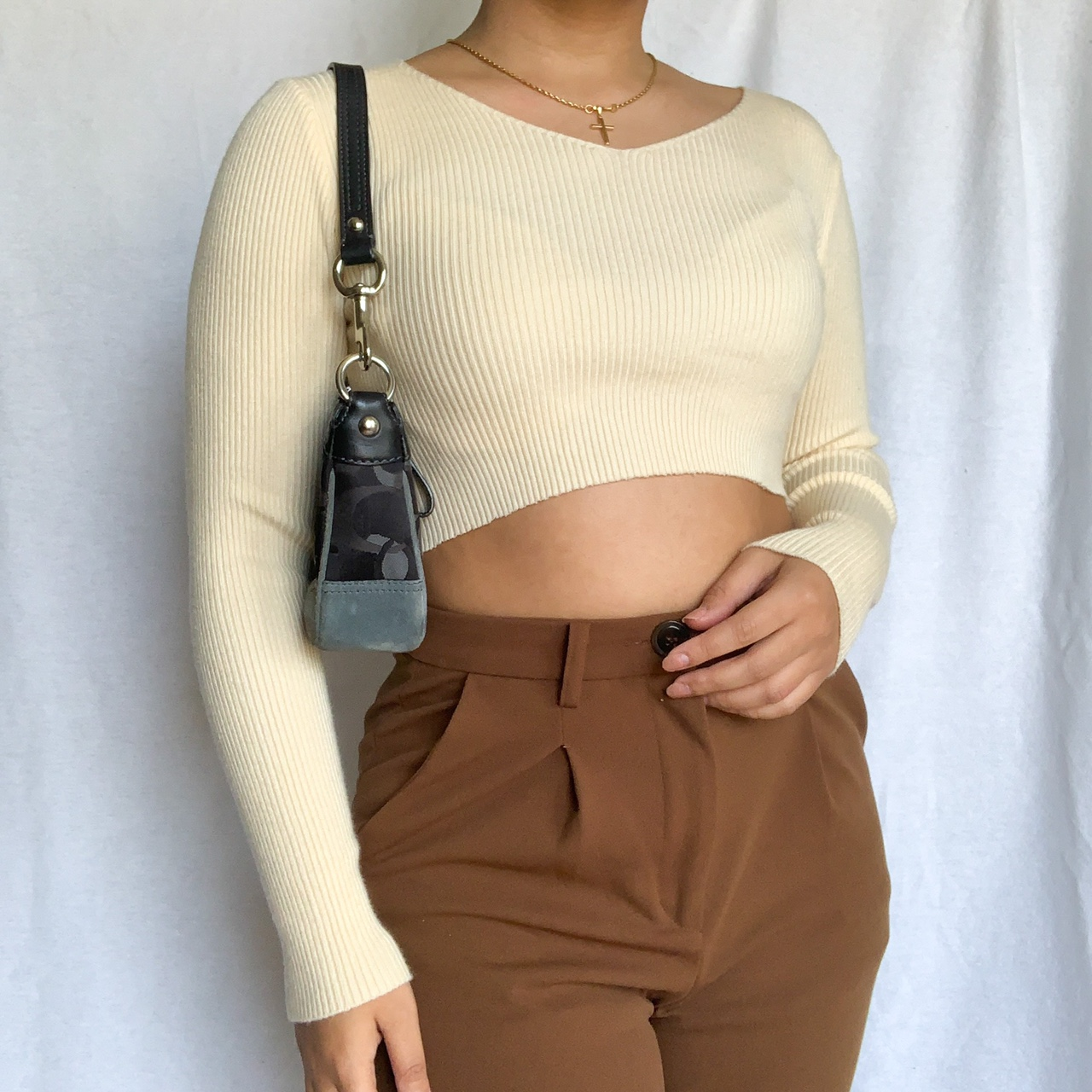 🧡CREAM RIBBED TOP🧡