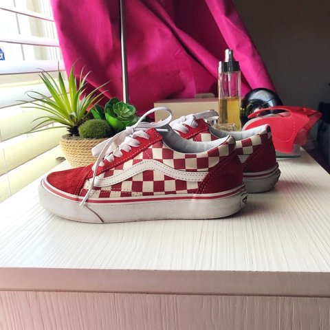 690b97050a ❤ RED CHECKERED VANS IN REALLY GOOD CONDITION ❤ SIZE  6 - Depop