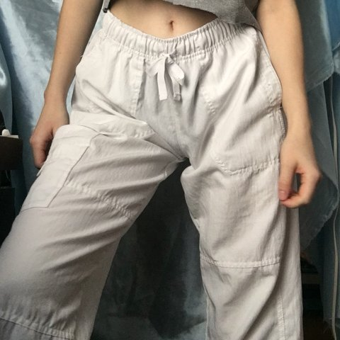 b7bc23de2abb7 white flowy pants. brand is spread good cheer. marked as Sp, - Depop