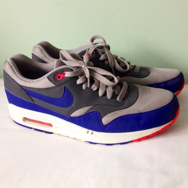 9eac057394 Nike Air Max 1 Essential - medium grey/dark grey/ ultra neon - Depop