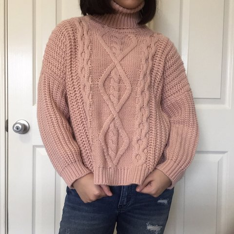 Super chunky boxy rose pink turtleneck sweater! This is so i - Depop 930df5d6e