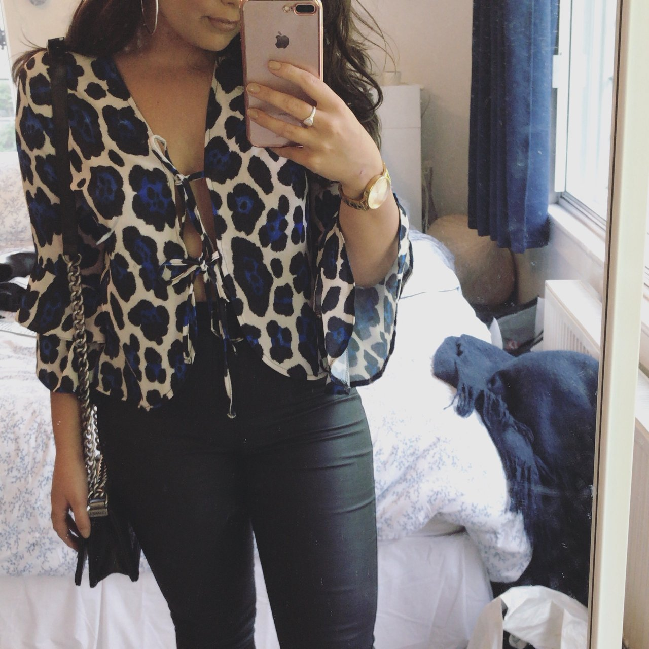 8a83c02402c8 Selling this blue and black leopard print top! Originally a - Depop