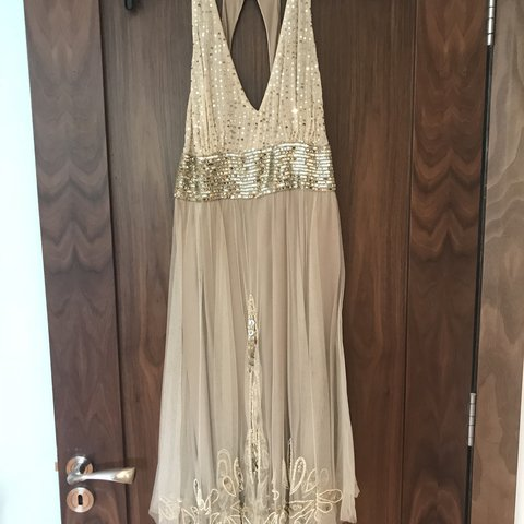 0e38af58 @saroc. last year. Duncannon, Ireland. Monsoon Originals Gold beaded & sequin  dress. Open back ...
