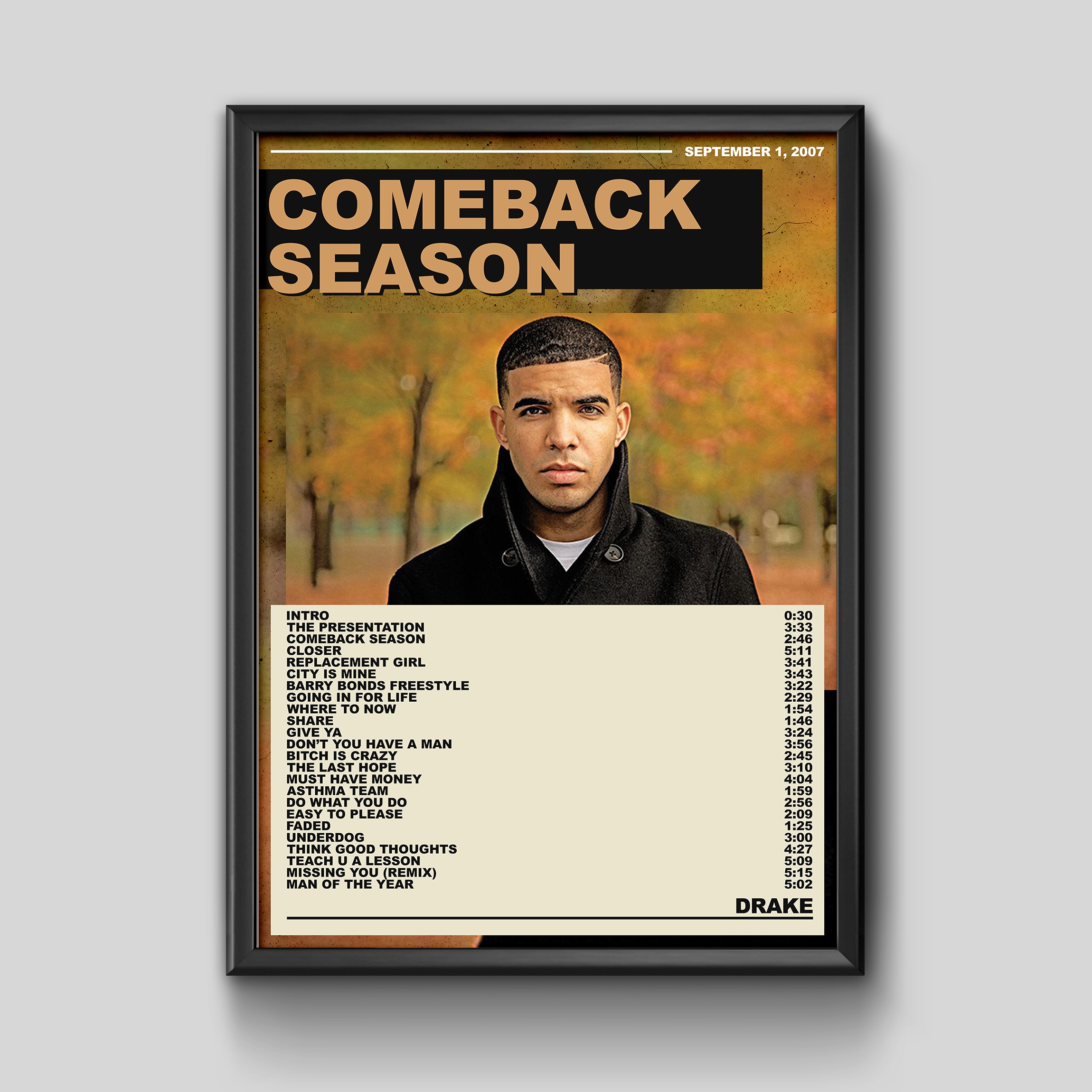 A3 PRINT // Comeback Season high quality Drake Album