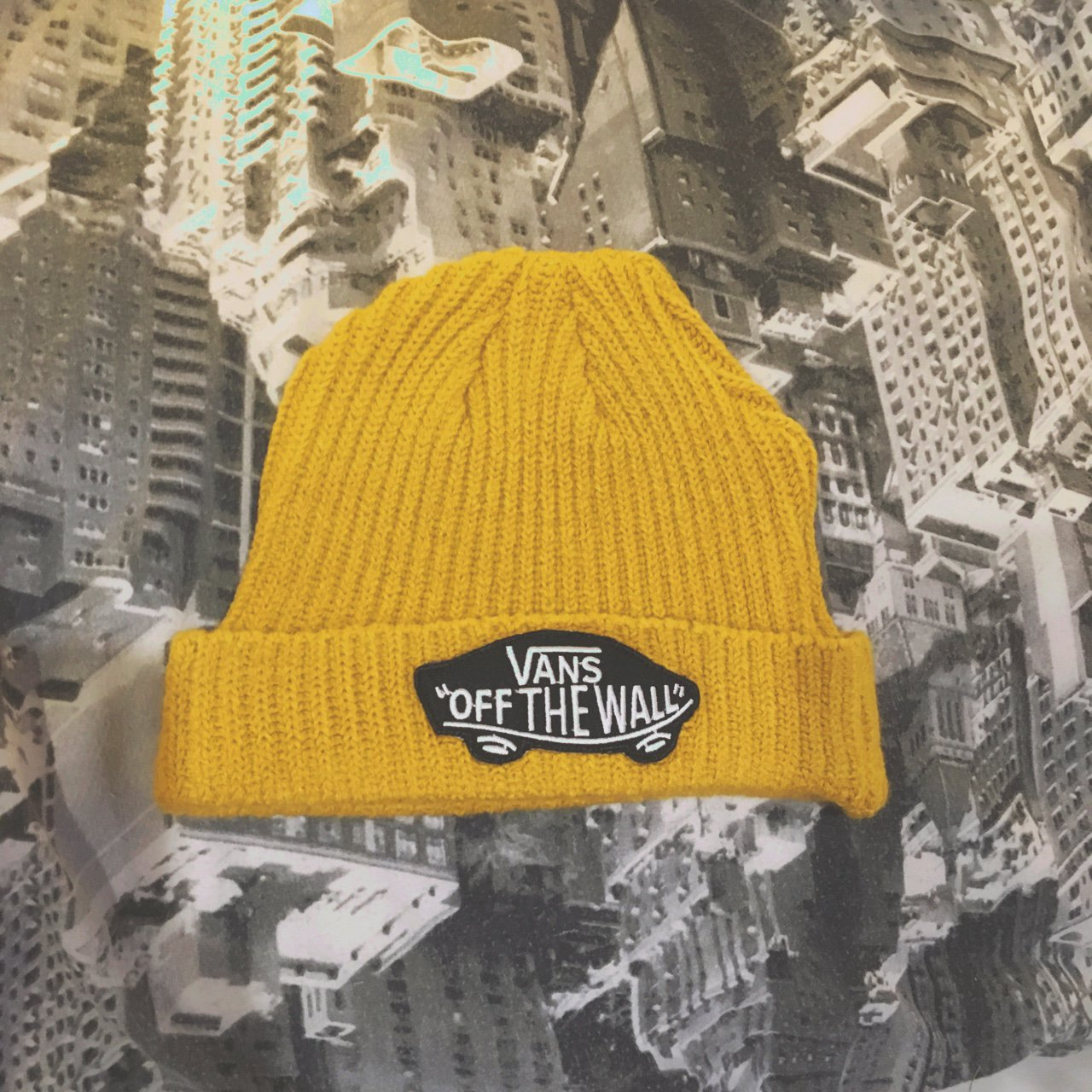 Vans mustard beanie. Vintage Yellow knitted winter hat! Worn - Depop 65a305c031c