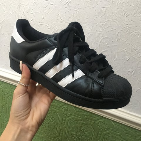 561f144e75cc Black   White Adidas Superstars UK 3.5 - almost new  adidas - Depop