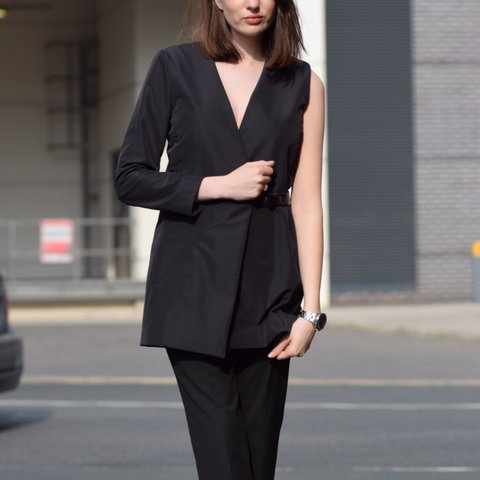 5a08dc055594d @lizzyhadfield. 3 years ago. Manchester, UK. Black COS one sleeved blazer  ...