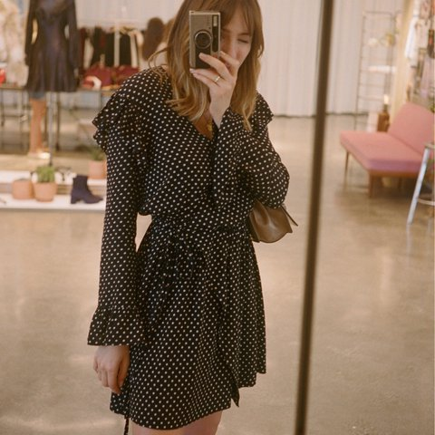 488e47f522   Other Stories frill wrap dress. Black with white polka dot - Depop