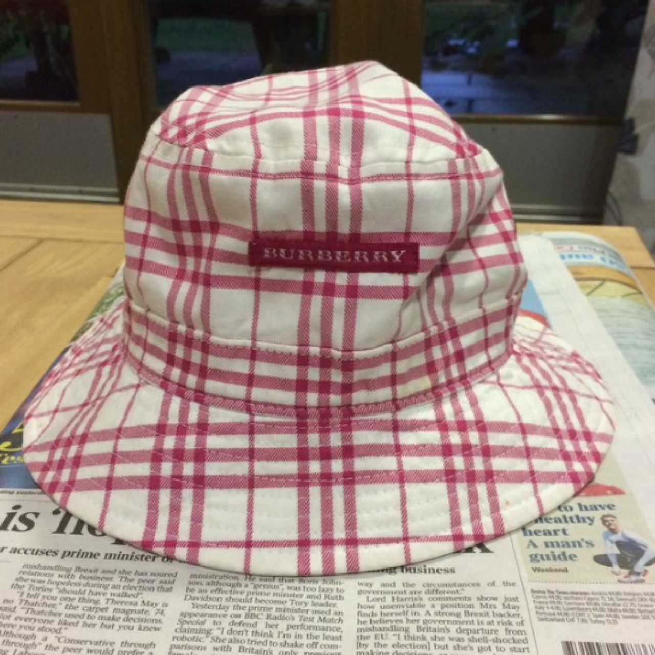 Cute white and pink Burberry bucket hat Will be taking - Depop 6889a8ffbdc