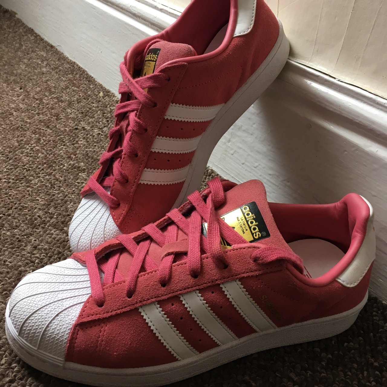 b1ec0324567c13 Pink suede adidas superstars size 5.5 only worn a few times - Depop