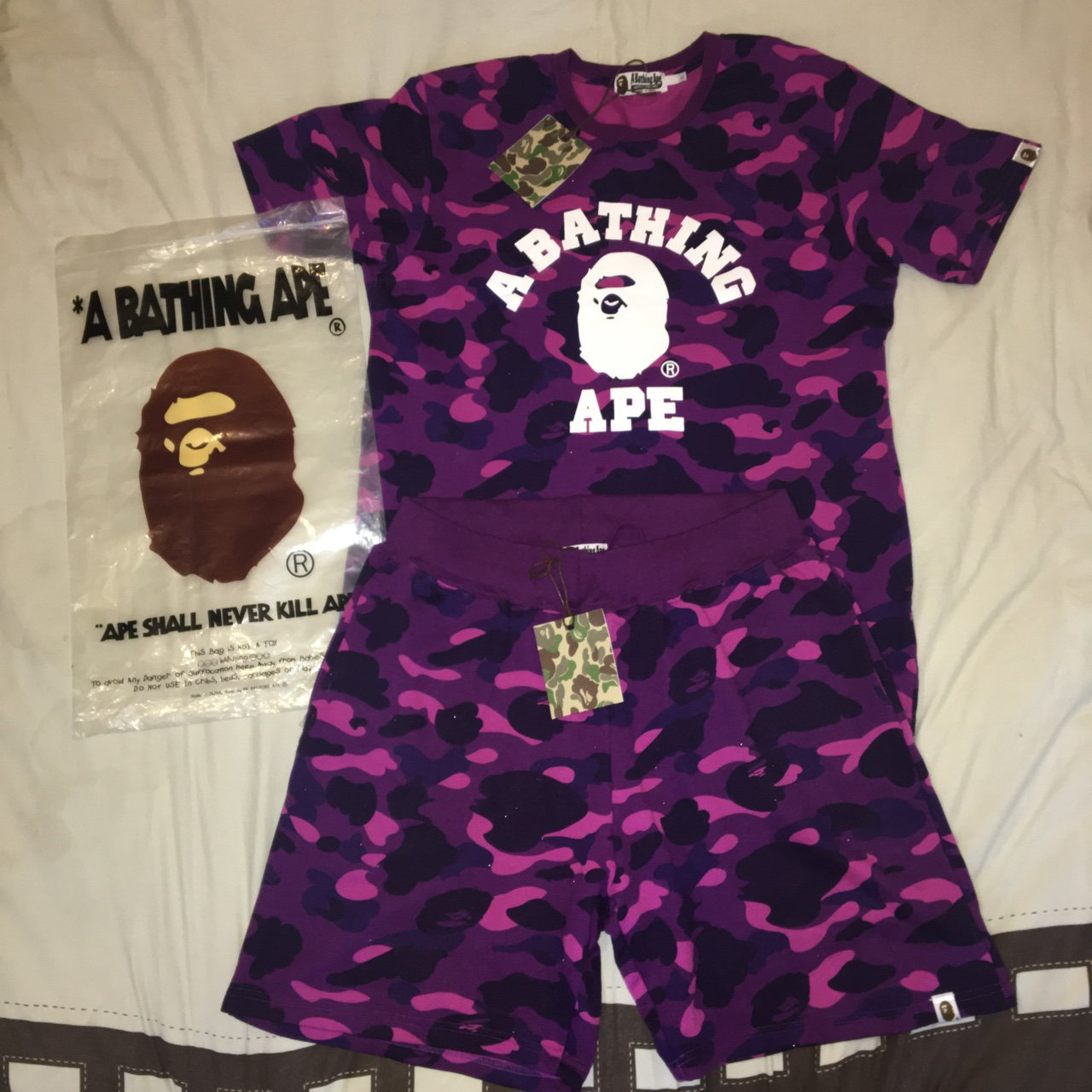 90731ca91 Bape T-Shirt & Shorts. DM BEFORE YOU BUY! Purple Camo 😈. - - Depop
