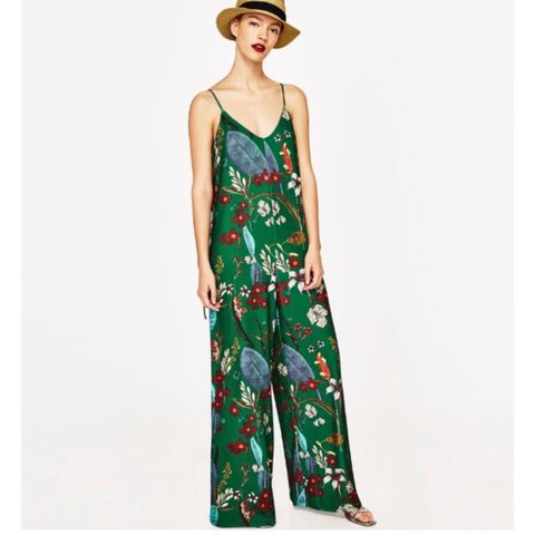 db92256d3fb Green floral Zara jumpsuit. Size M. Sold out everywhere. by - Depop