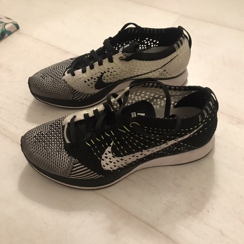 1dc6fe011513 Nike Flyknit Racer in black and white volt (with fluorescent - Depop