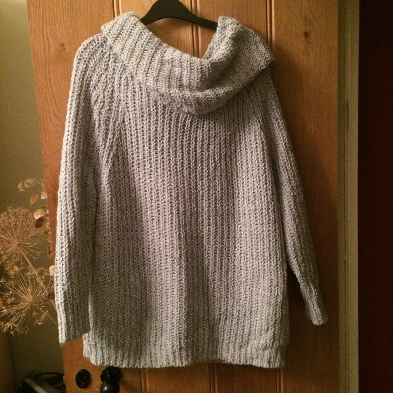 Soft as heck cable knit roll neck jumper. Light grey. thing - Depop ff284e1be