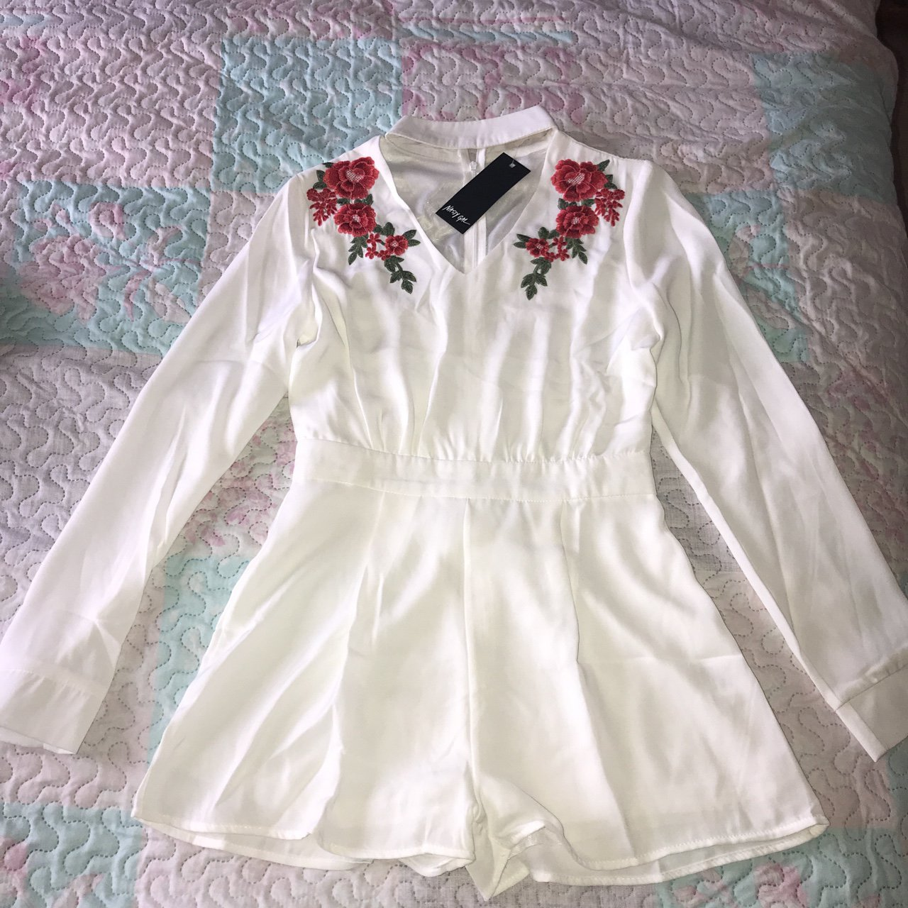 c1b94ca603a Nasty Gal White Rose to the Occasion Embroidered Romper  in - Depop