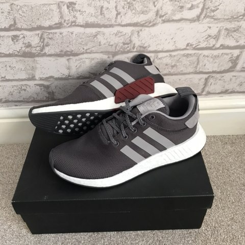 777e61ea72f9d Adidas NMD R2 Grey and Maroon. BRAND NEW IN ORIGINAL BOX. - Depop