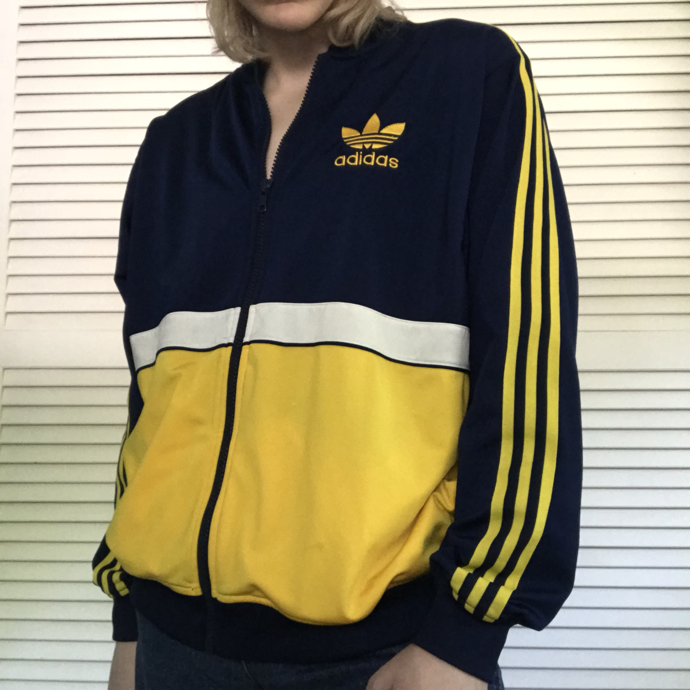 Vintage Adidas track jacket. Navy blue and yellow Depop