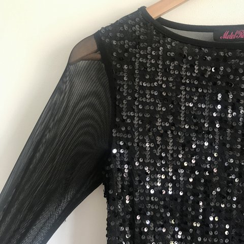 02c6cf52dda Motel Rocks Black Sequin Mini Dress with Mesh Back and and • - Depop