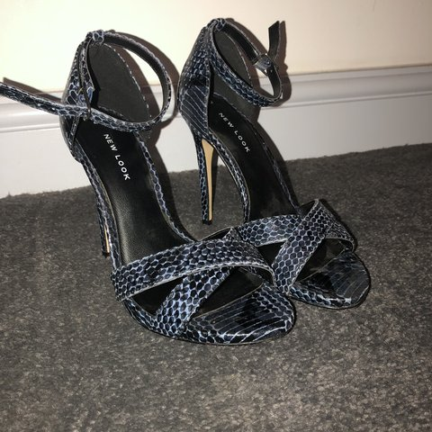 26346033841 Blue Snake Print Strappy Heels from Newlook Worn once Size - Depop