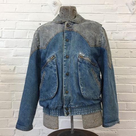 90ad2d1c4bdfa Ooh check this one out! Vintage 1986 Guess two tone denim is - Depop