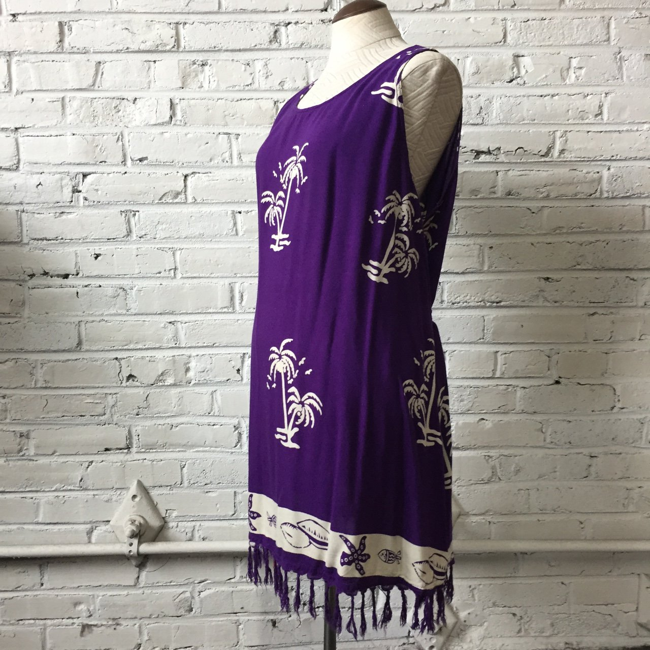 61cbc40a8580 Soft and lux purple batik style summer vacation dress by fun - Depop