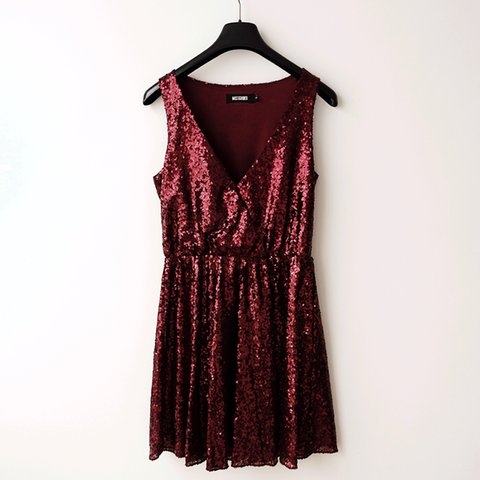 d90476cd81  bachelorette. 21 days ago. United Kingdom. Missguided burgundy sequin  skater party dress in a size 8 💘 Beautiful deep red ...