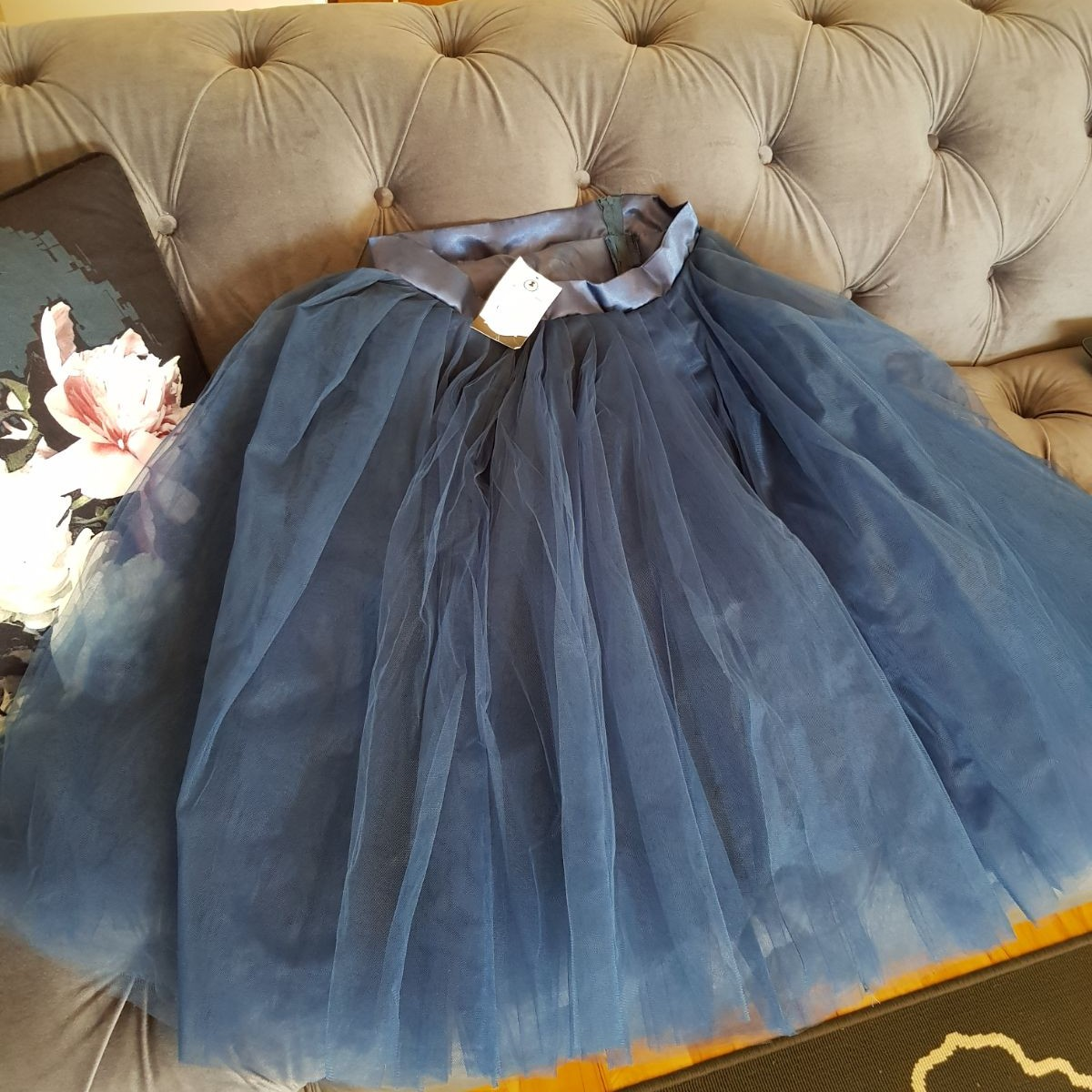 faad1a84cc Brand new navy puff ball skirt never worn . Tags say large a - Depop