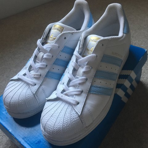 new concept 756bf 8b81a Adidas Superstar Shoes with sky- 0